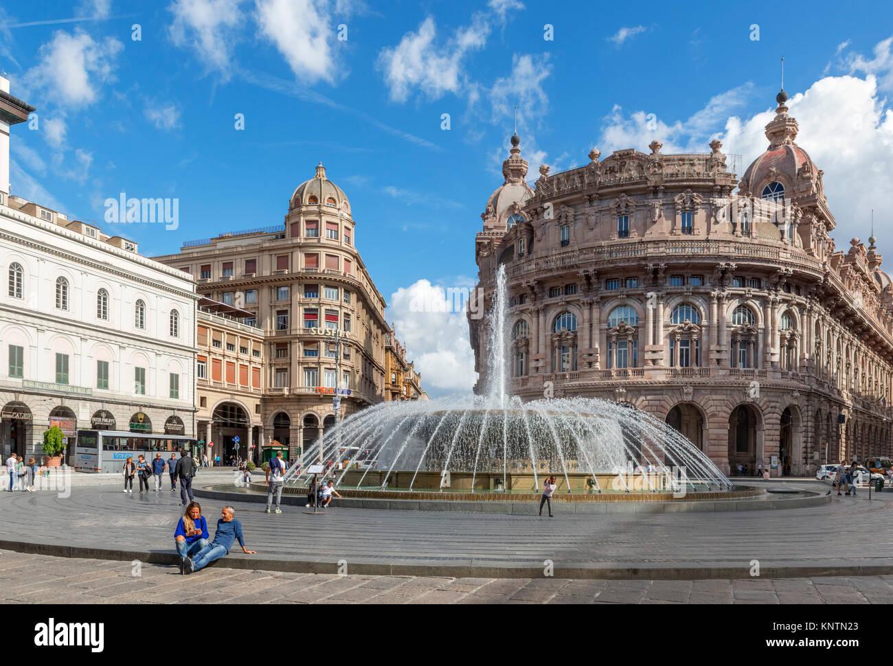 Fountain in Piazza de Ferrari in the old town, Genoa, Liguria, Italy - Stock Image