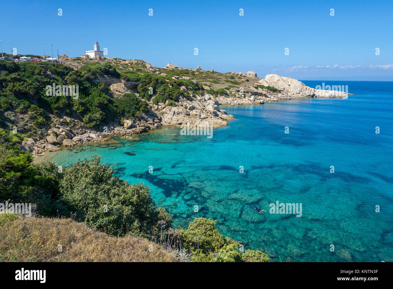Lighthouse of Capo Testa, Santa Teresa di Gallura, Sardinia, Italy, Mediterranean sea, Europe - Stock Image