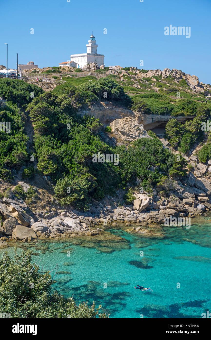 Lighthouse of Capo Testa, Santa Teresa di Gallura, Sardinia, Italy, Mediterranean sea, Europe - Stock Image