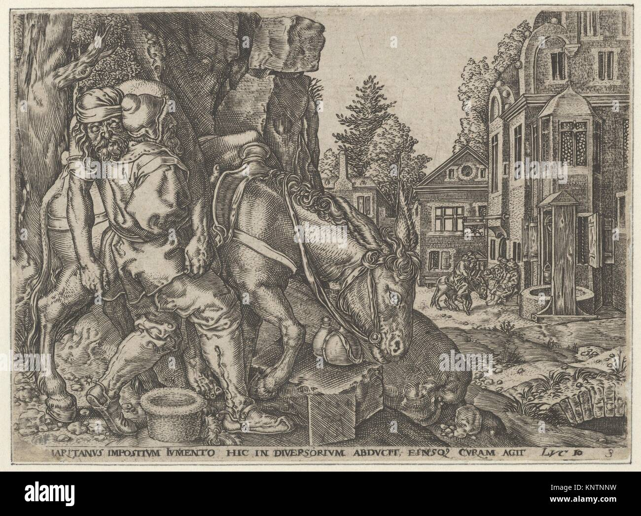 Copy of The Good Samaritan Putting the Traveller on His Donkey, from The Parable of the Good Samaritan. Artist: - Stock Image