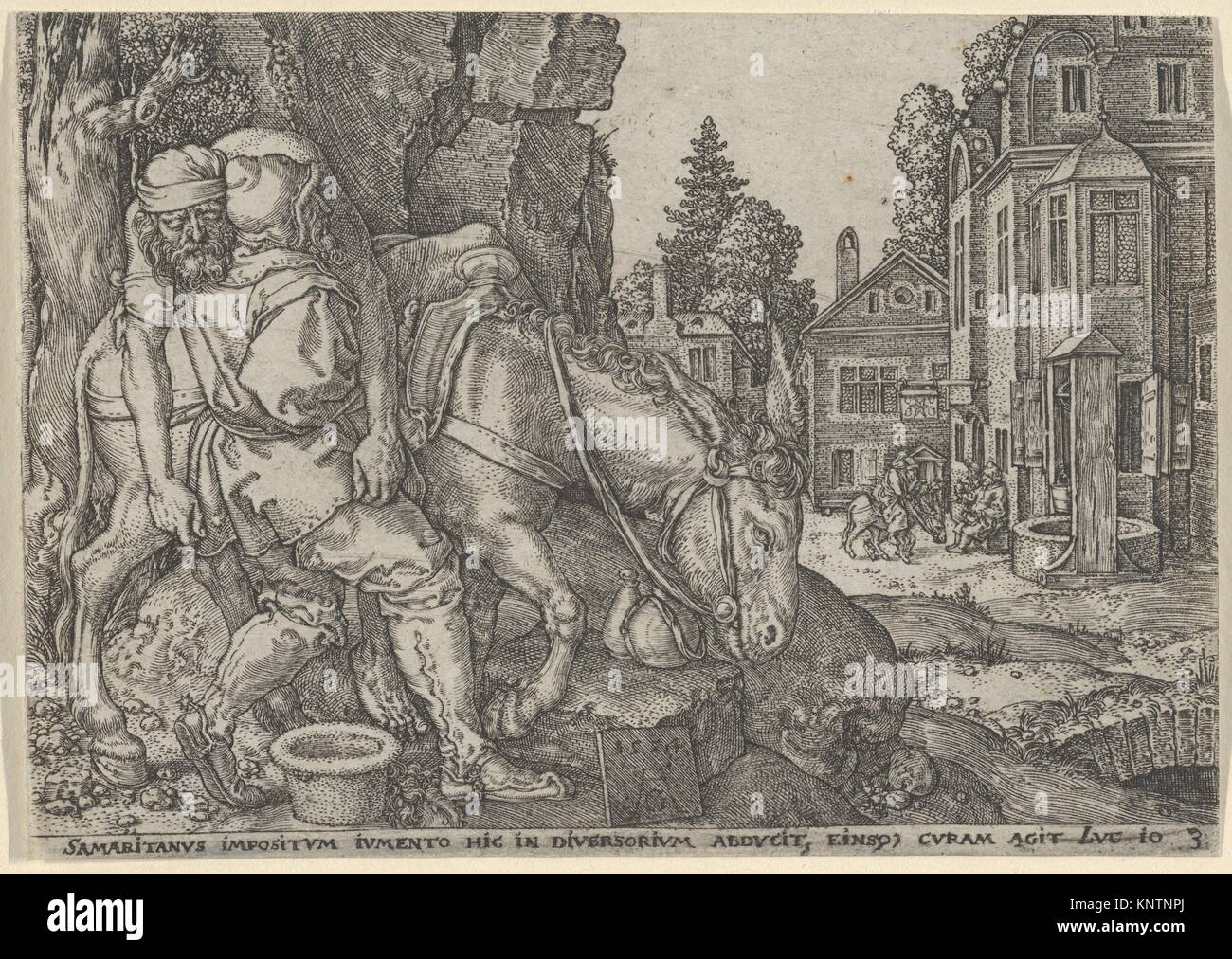 The Good Samaritan Putting the Traveller on His Donkey, from The Parable of the Good Samaritan. Artist: Heinrich - Stock Image