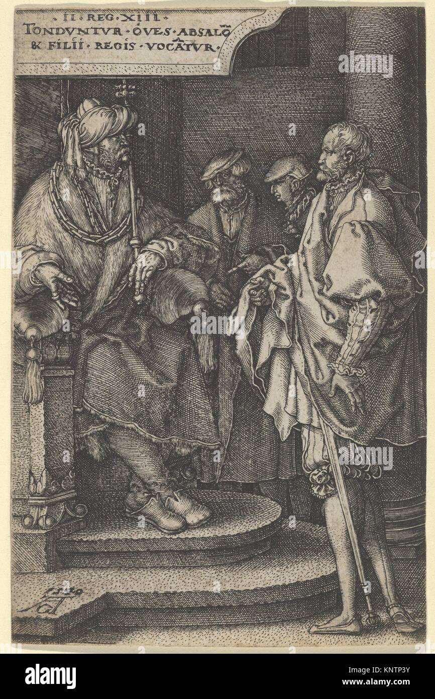 Absalom Inviting David and His Brothers, from The Story of Amnon and Tamar. Artist: Heinrich Aldegrever (German, - Stock Image