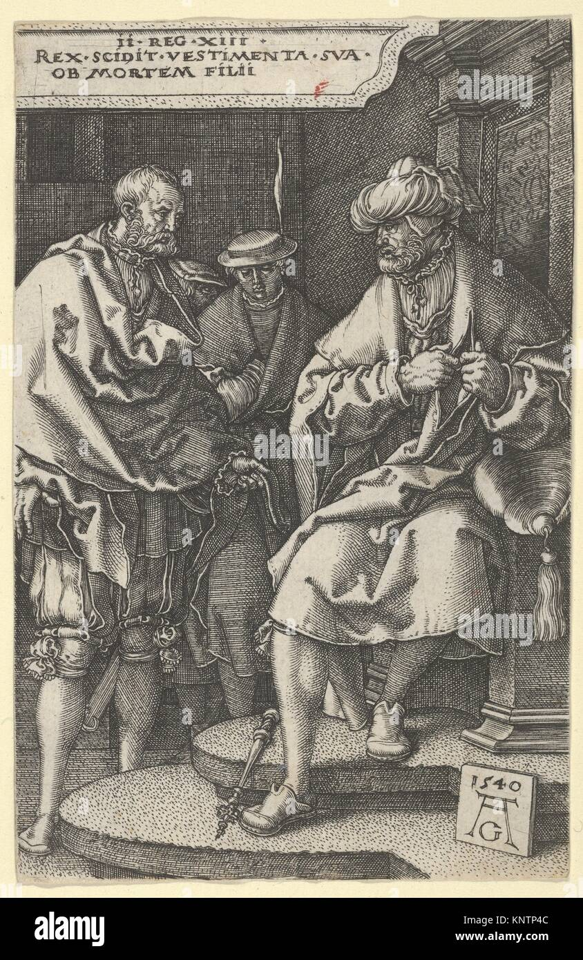 David Tearing His Clothes in Grief, from The Story of Amnon and Tamar. Artist: Heinrich Aldegrever (German, Paderborn - Stock Image