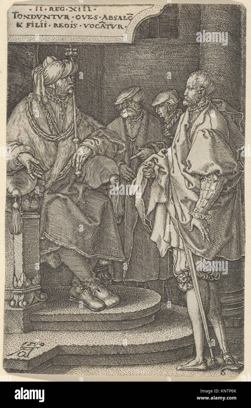 Absalom Inviting David and His Brothers. Series/Portfolio: The Story of Amnon and Tamar; Artist: Heinrich Aldegrever - Stock Image