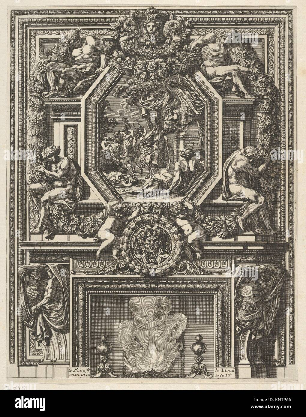 Chimney with a Bacchanal over the Mantle from 'Grandes Cheminée'. Artist and engraver: Jean Le Pautre - Stock Image