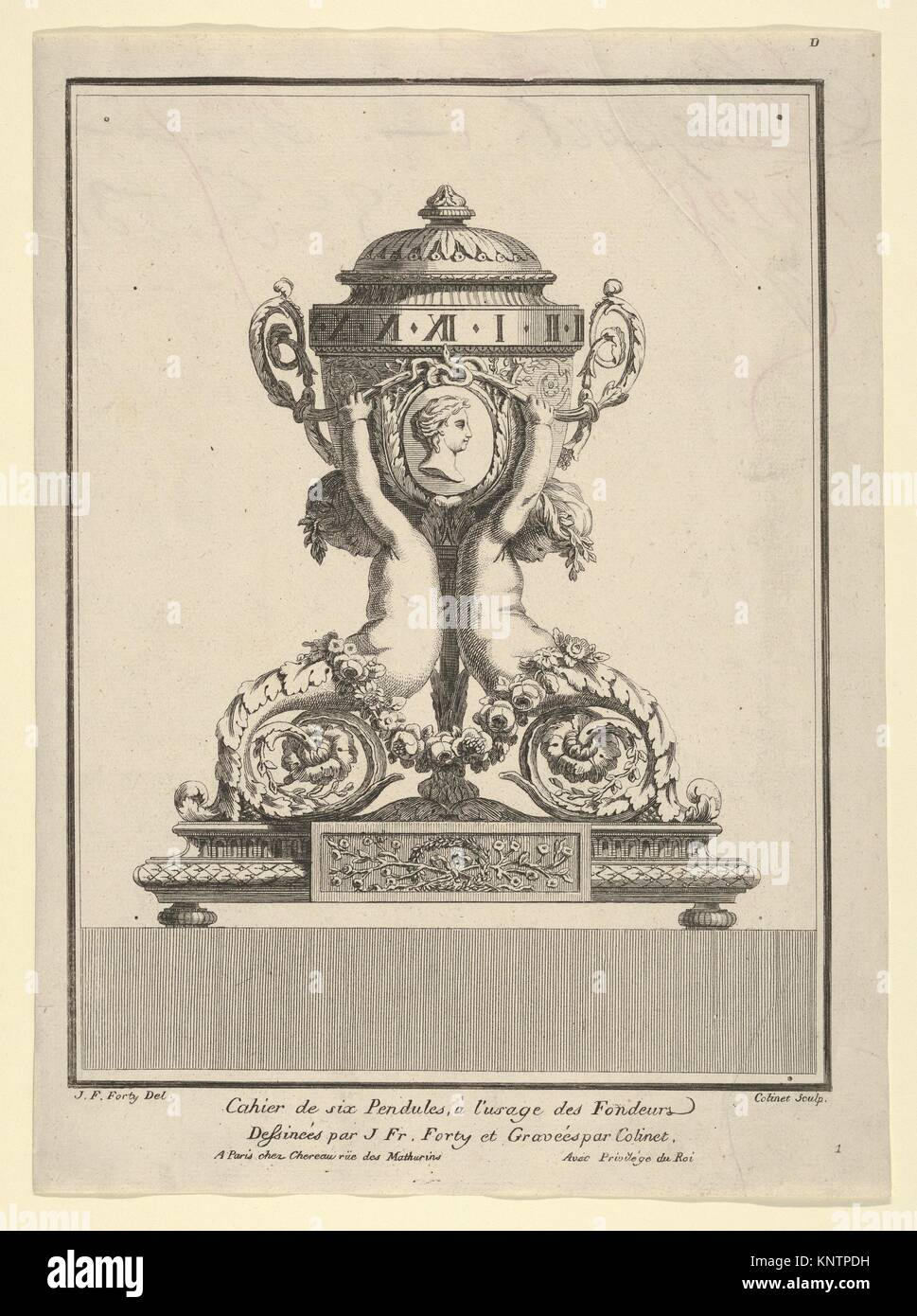 Design for a Clock, Title Page to 'Cahier de six Pendules'. Artist: Jean François Forty (French, active - Stock Image