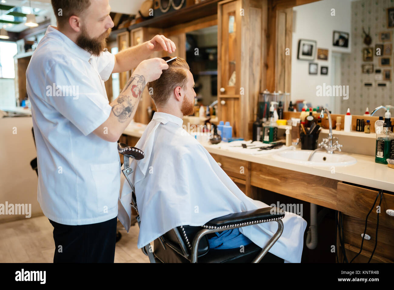 Hair beard and mustache treatment - Stock Image