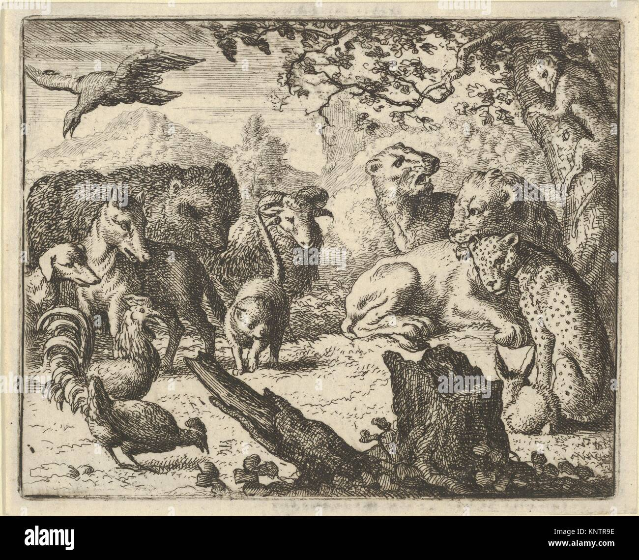 The Lion Announces a Durable Peace to the Animals who Surround Him from Hendrick van Alcmar's Renard The Fox. - Stock Image