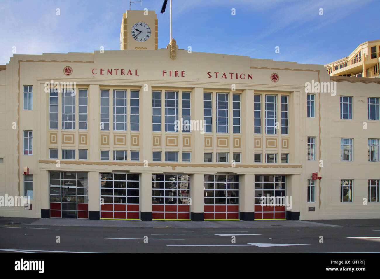 the central fire station in wellington on the north island of new zealand - Stock Image