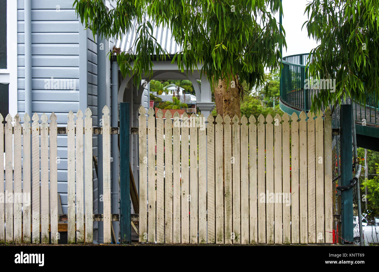 Common neighborhood scene in Brisbane Australia - old picket fence next to houses and tropical vegetation - Stock Image
