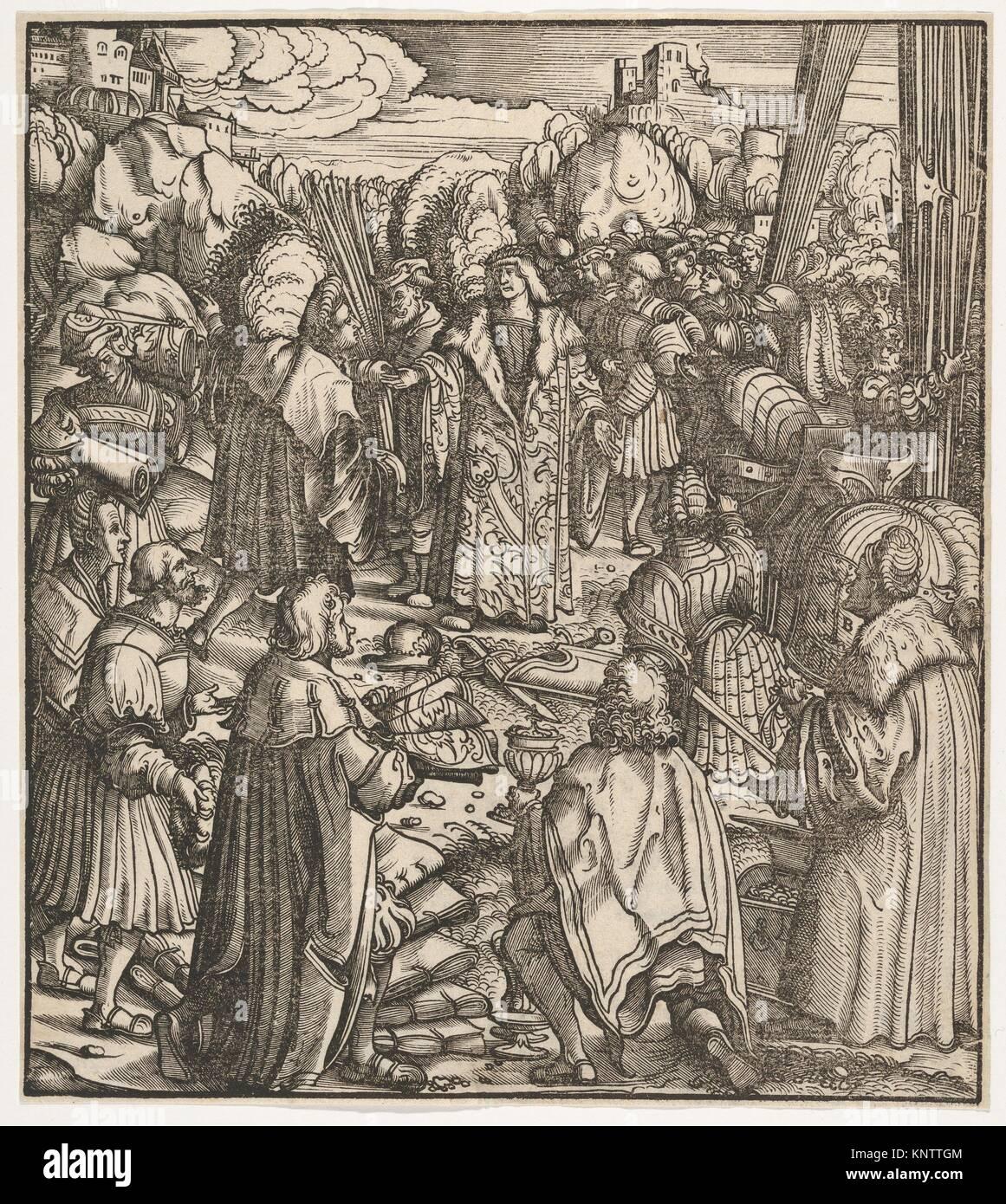 The Young Prince Standing Between His Secretaries, from Der Weisskunig. Series/Portfolio: Der Weisskunig; Artist: - Stock Image