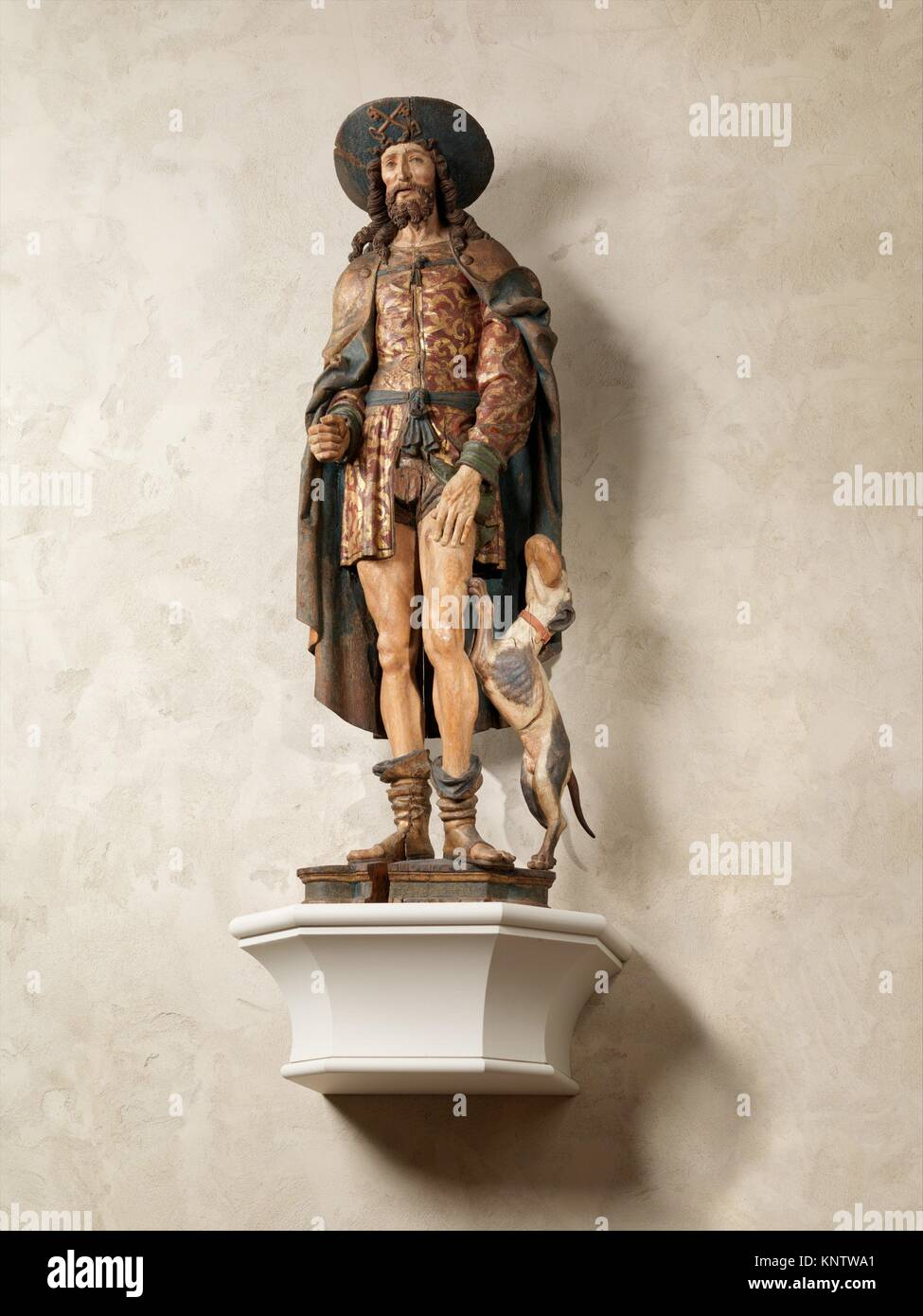 Saint Roch. Date: early 16th century; Geography: Made in Normandy, France; Culture: French; Medium: Oak, paint, - Stock Image