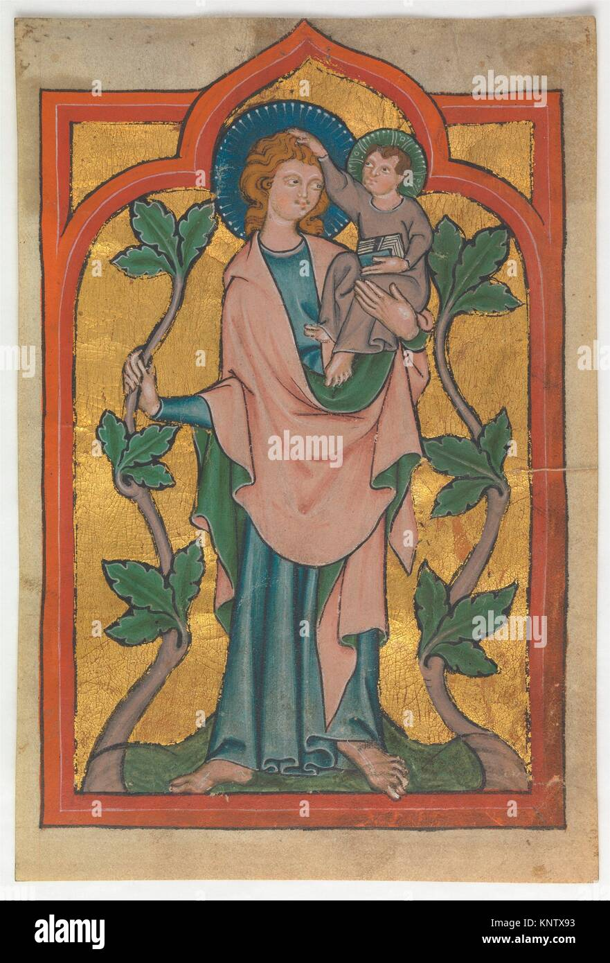 Manuscript Leaf with Saint Christopher Bearing Christ. Date: early 14th century; Culture: German or Swiss; Medium: - Stock Image