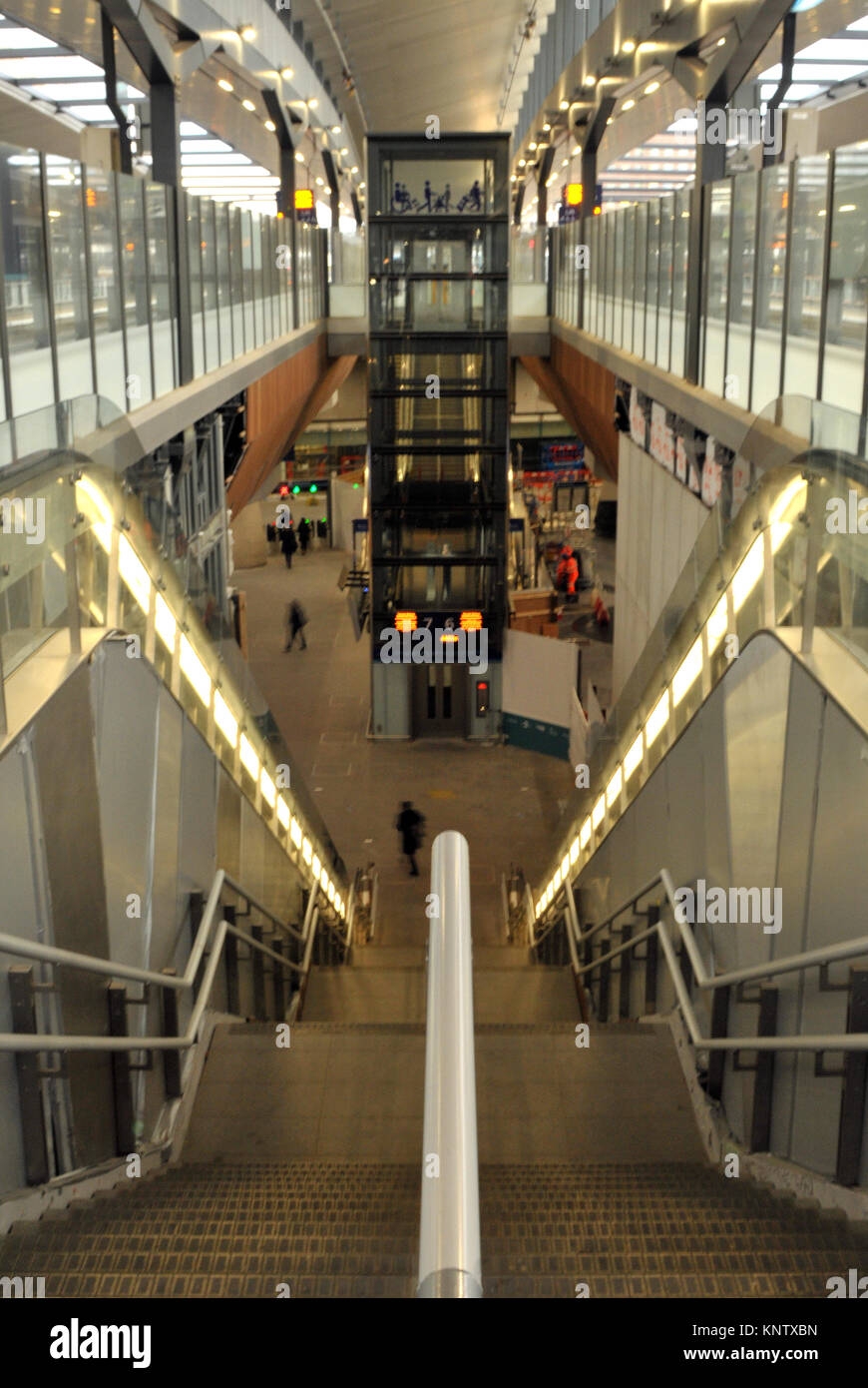 A flight of stairs or steps at the new London Bridge railway station in central london. New buildings and construction - Stock Image