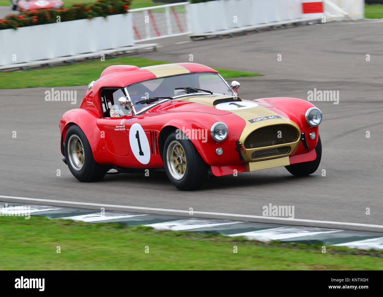 Grahame Bryant, Oliver Bryant, AC Cobra, Royal Automobile Club TT Celebration, Goodwood Revival 2013. GPG 4 C. - Stock Image