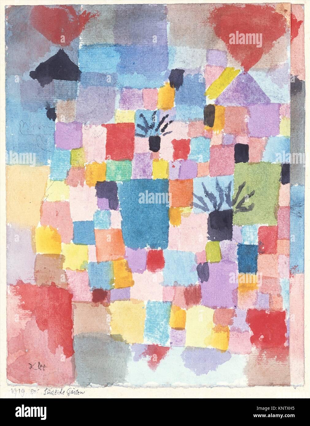 Southern Gardens. Artist: Paul Klee (German (born Switzerland), Münchenbuchsee 1879-1940 Muralto-Locarno); - Stock Image