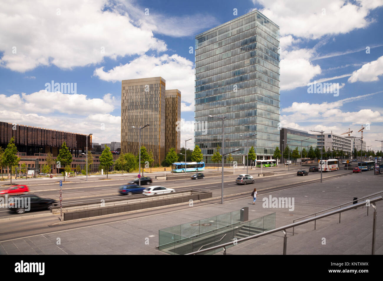 Street in front of European Court of Justice, EU Building, Kirchberg Plateau, European Centre, Luxembourg City, - Stock Image
