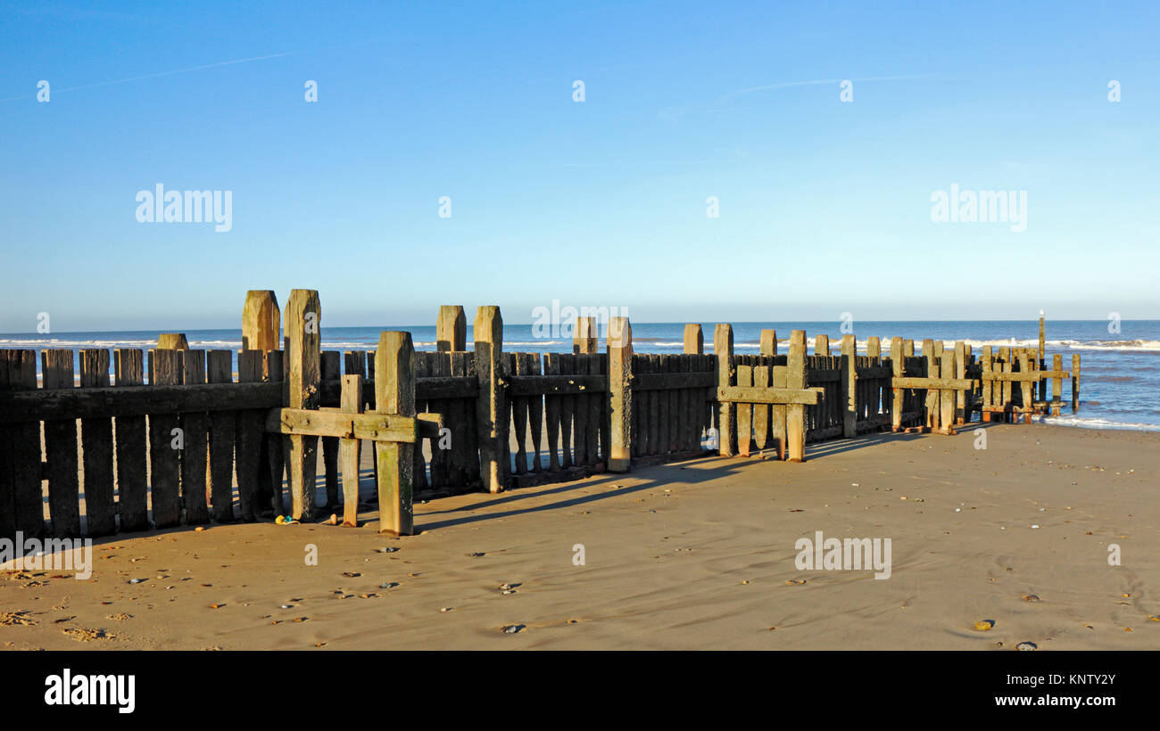 A view of a substantial wooden breakwater sea defence on the beach at Walcott-on-Sea, Norfolk, England, United Kingdom. - Stock Image