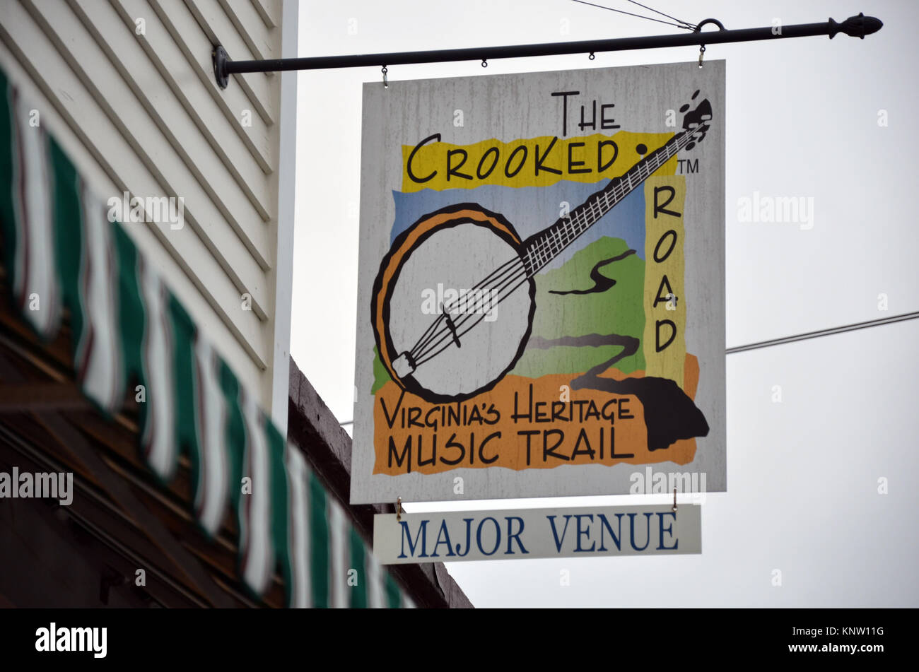 The Crooked Road Sign outside Floyd Country Store in Floyd, Virginia, 24091, USA - Stock Image