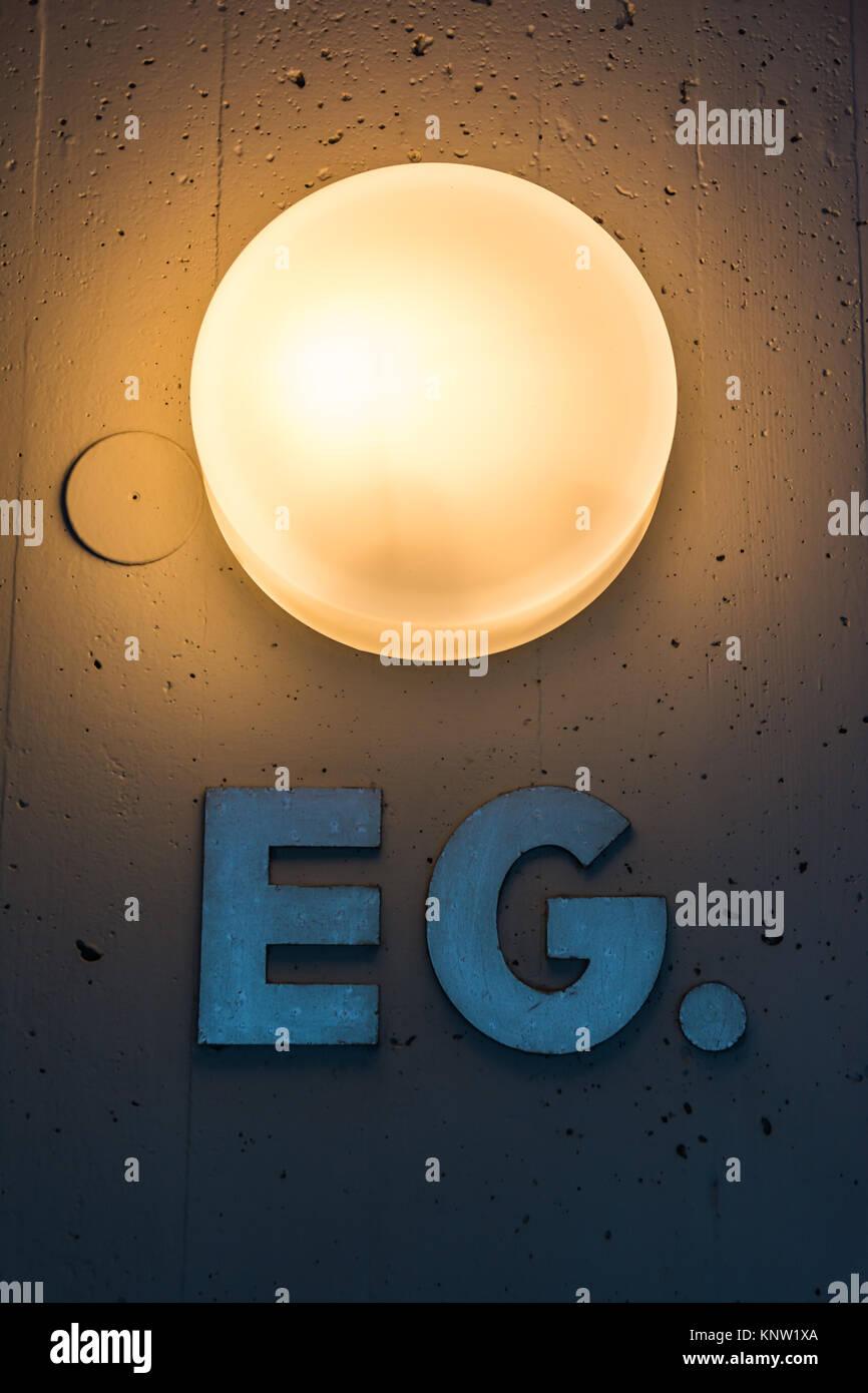 Erdgeschoss EG Apartment Floor Number Map Wall Metal Light ...