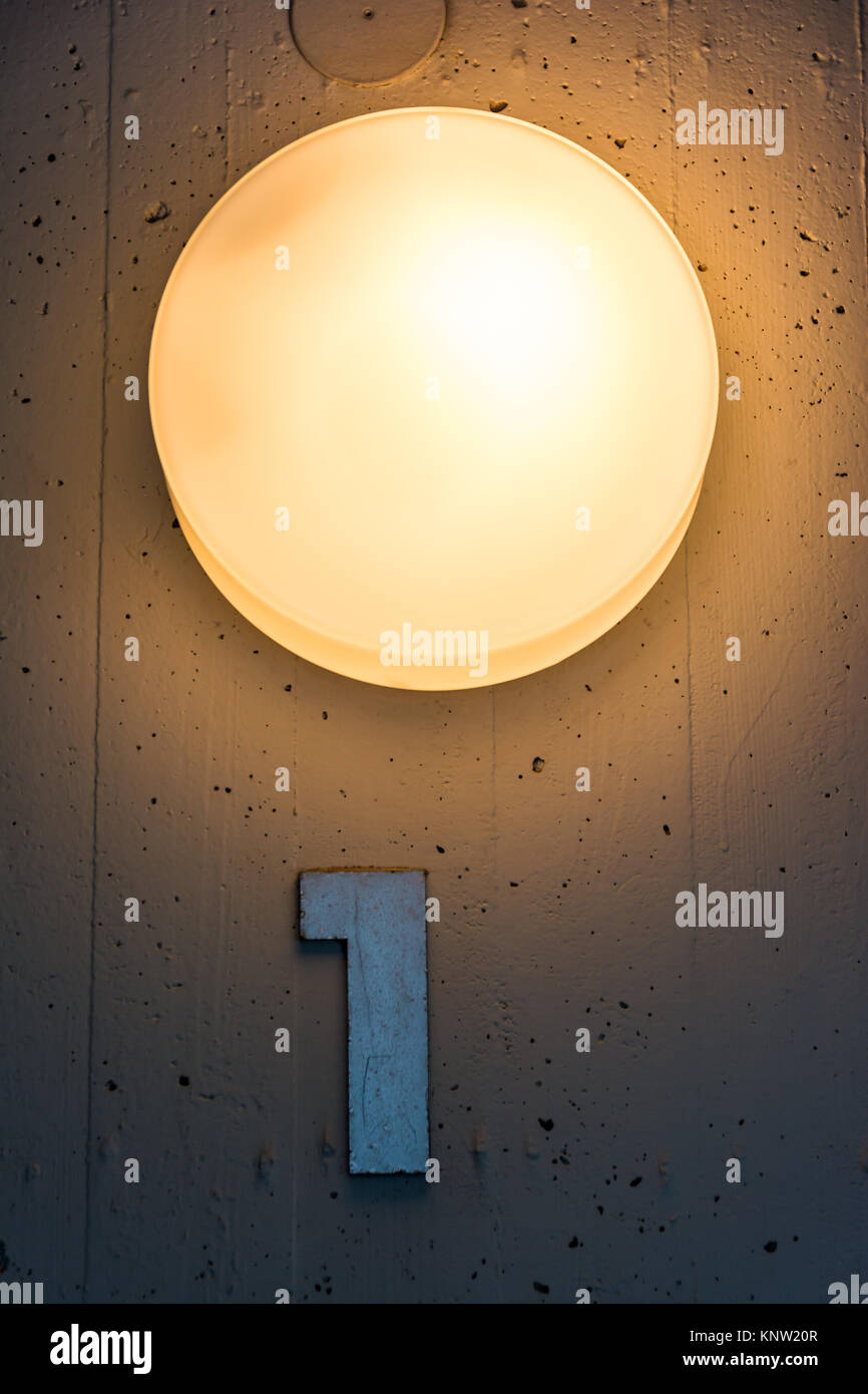 One 1 Apartment Floor Number Map Wall Metal Light Decoration Stock ...
