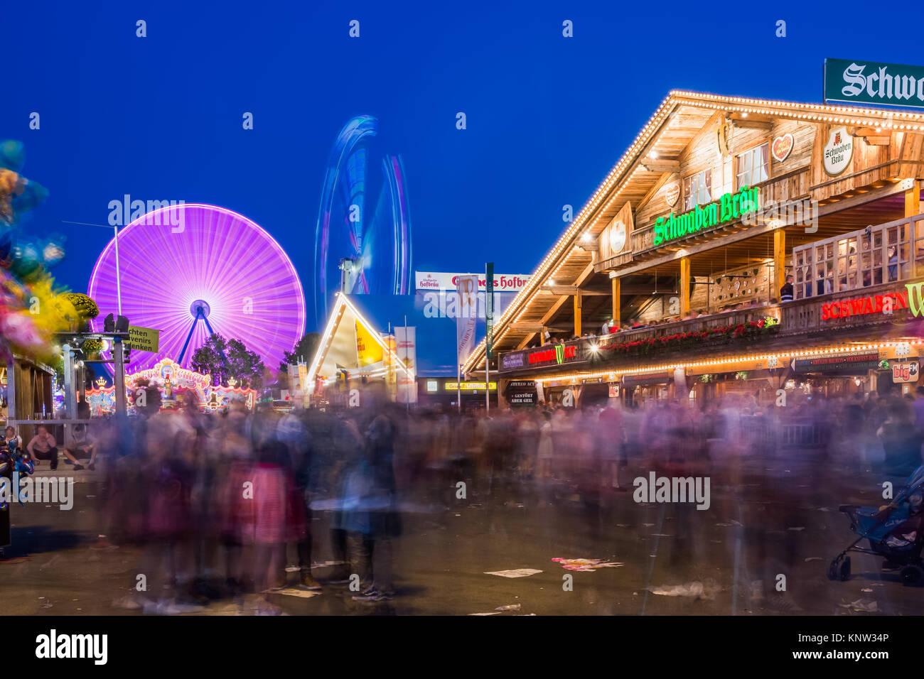 Bad Cannstatt Stuttgart Germany Volksfest Oktoberfest Rides Beer Tent - Stock Image