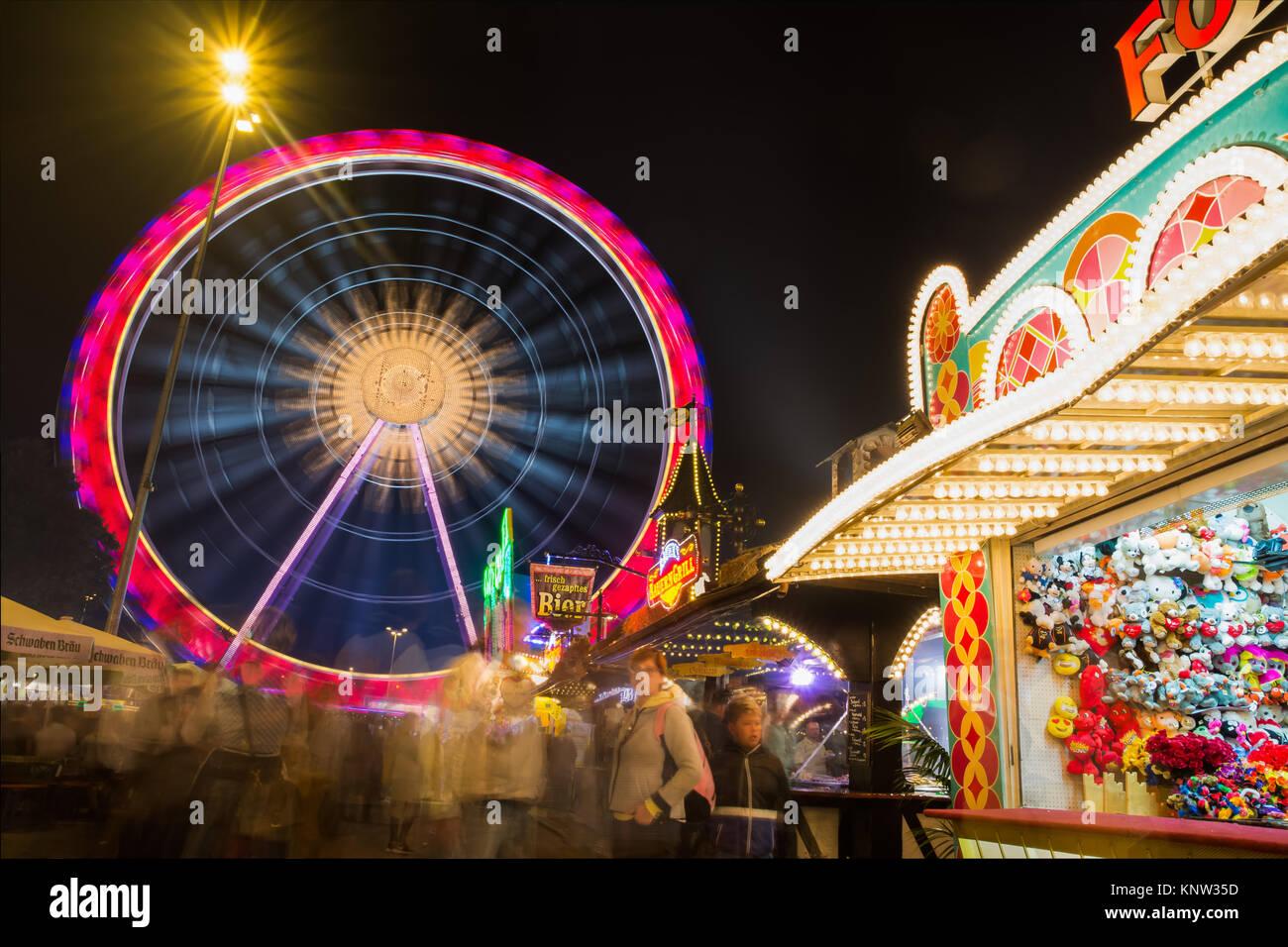 Bad Cannstatt Stuttgart Volksfest Landscape Oktoberfest Ferris Wheel Lights - Stock Image