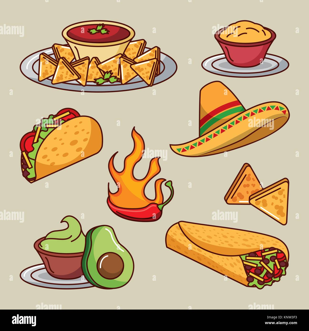 Mexican Restaurant Tacos Burritos Stock Photos Set Of Meat Cuts Diagram In Colourful Style Food Icons Menu Ingredients Spicy Image