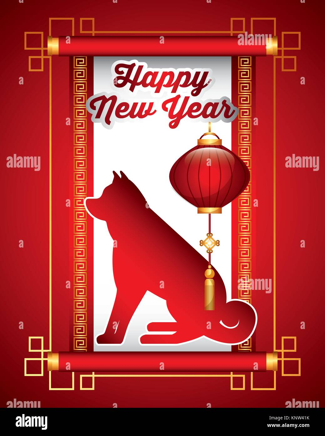 chinese happy new year of the dog lantern traditional card Stock Vector