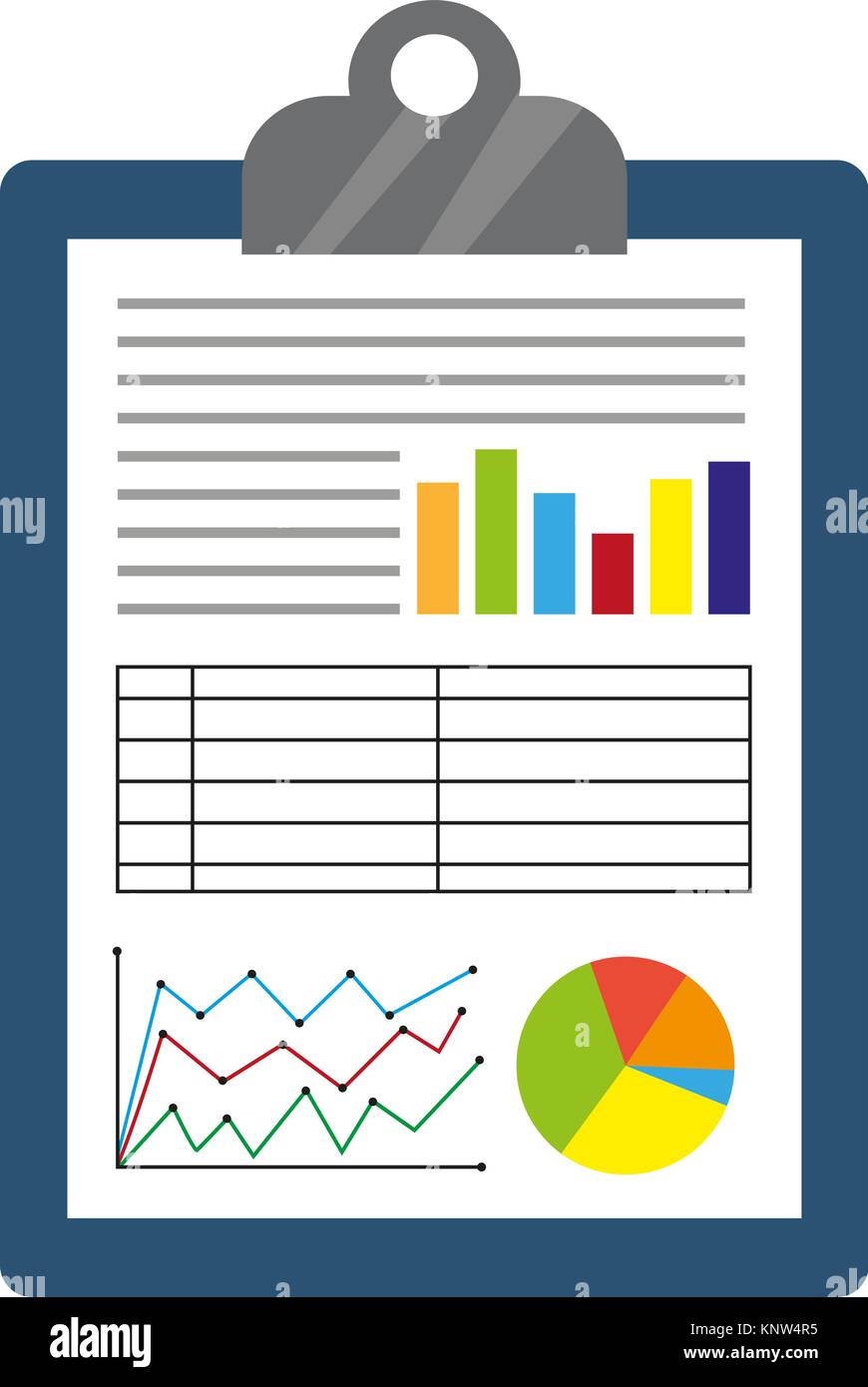 business report icon flat style financial graphs