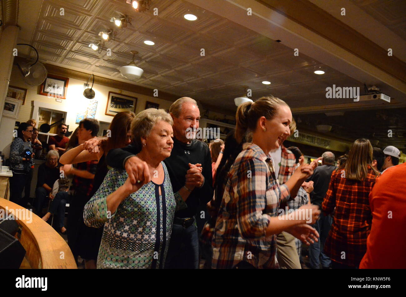 People dancing at the Friday Night Jamboree at Floyd Country Store in Floyd, Virginia, 24091, USA - Stock Image