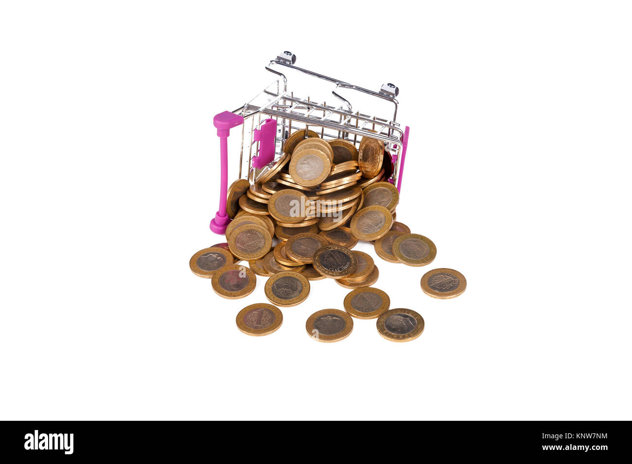Stack of Turkish Lira coins in shopping cart with money consuming and finance concept, isolated on white background. Stock Photo