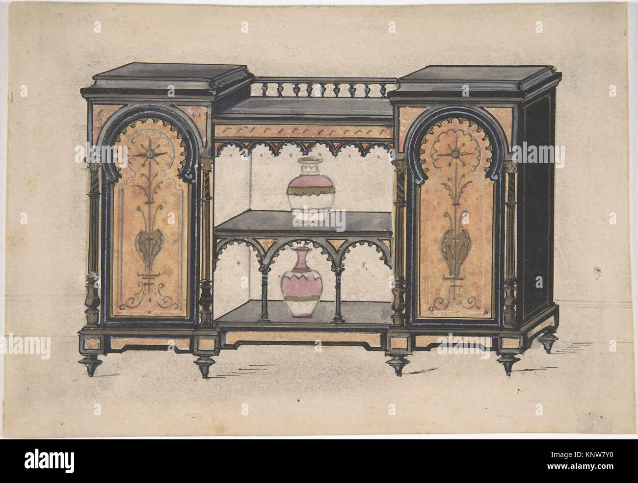 Design for a Cabinet with Two Central Shelves and Arched Doors MET DP806620 386626 - Stock Image
