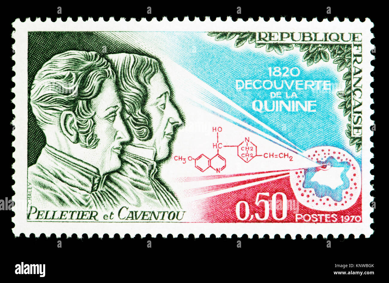 French postage stamp (1970) : 150th anniversary of the discovery / isolation of quinine. Pierre-Joseph Pelletier - Stock Image