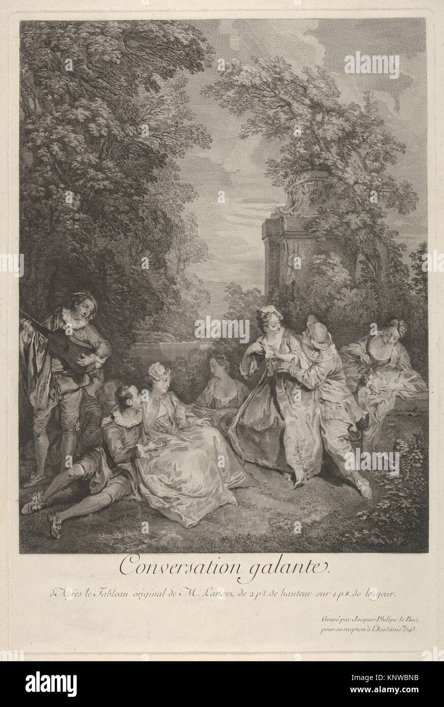 'Gallant conversation' (Conversation galante): couples engage in conversation in a garden setting, at left - Stock Image