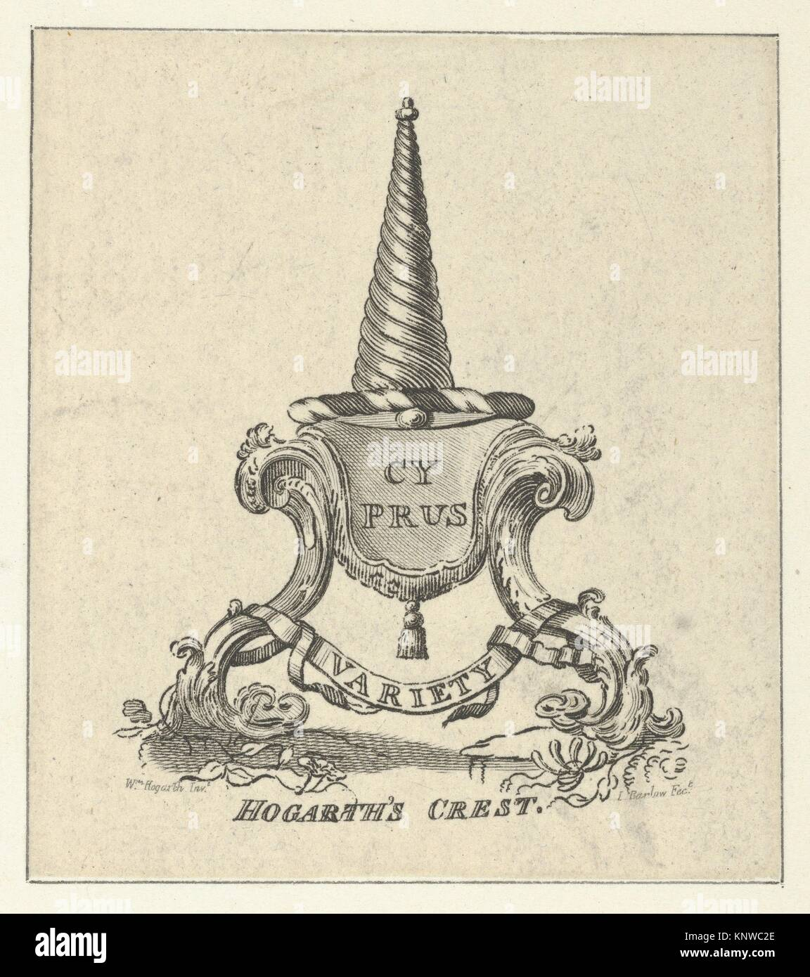 Hogarth's Crest. Engraver: Engraved by Inigo Barlow (British, active ca. 1790); Artist: Said to be designed - Stock Image