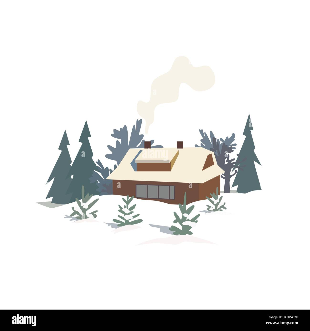 Rural house in snowy wood - Stock Image