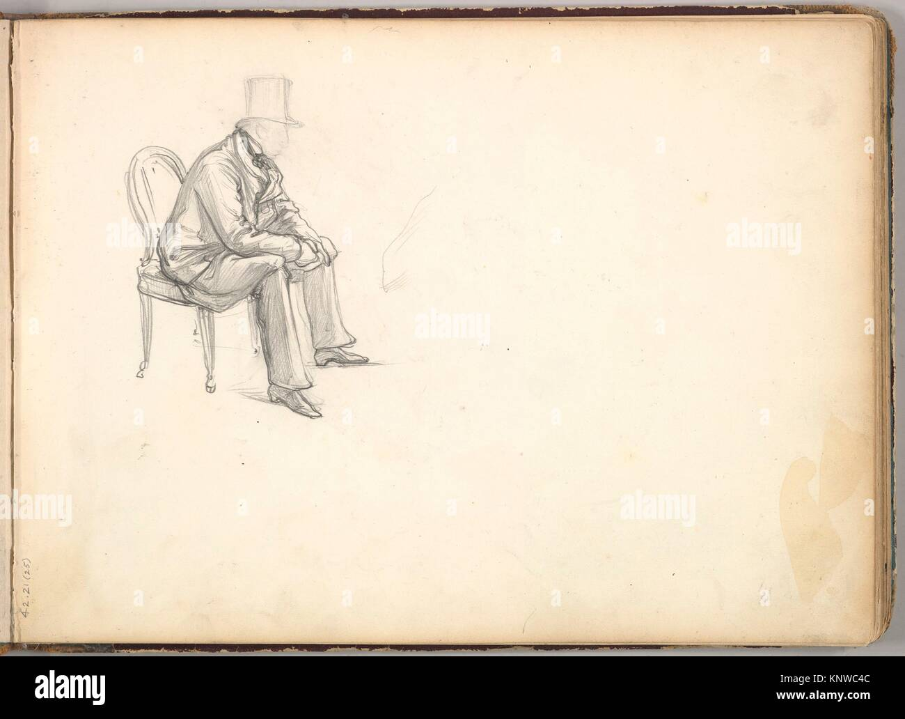 Man Seated on a Chair (in Sketch Book With Drawings on Twenty-six Leaves). Artist Frederic Lord Leighton (British Scarborough 1830-1896 London);  sc 1 st  Alamy & Man Seated on a Chair (in Sketch Book With Drawings on Twenty-six ...