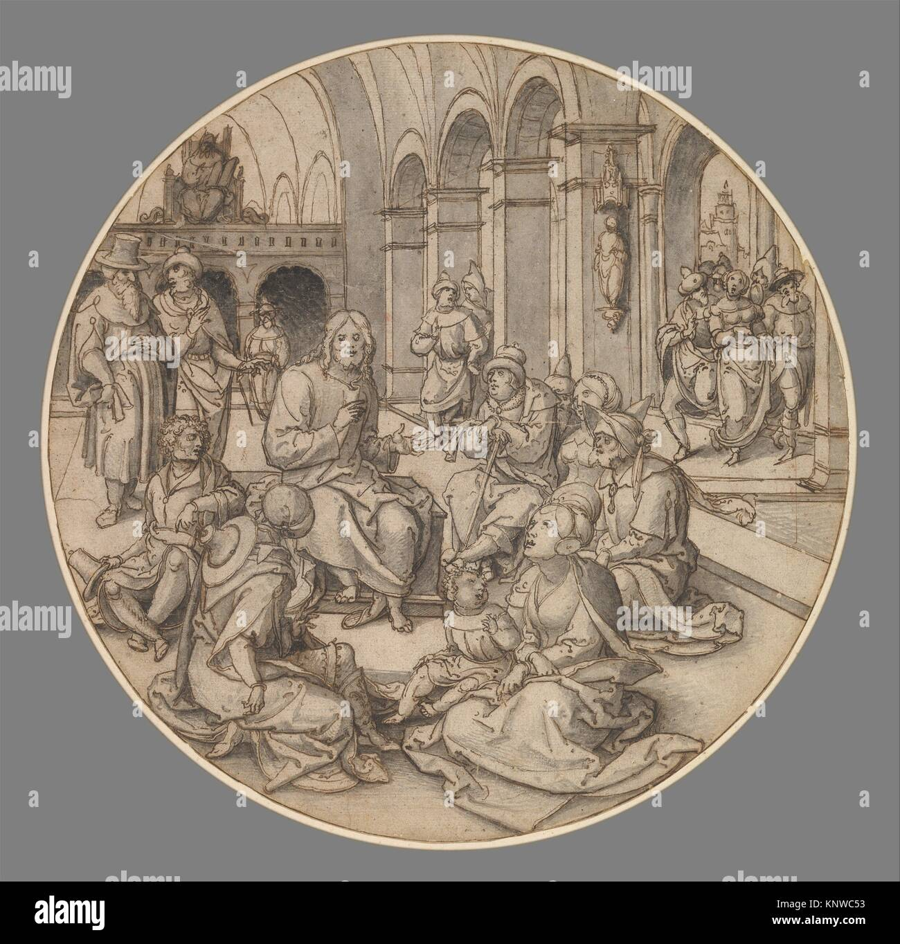 Christ Preaching in the Synagogue, with the Pharisees Bringing the Woman Taken in Adultery. Artist: Dirck Vellert - Stock Image