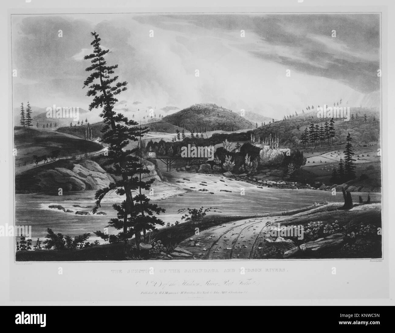 Junction of the Sacandaga and Hudson Rivers (No. 2 of The Hudson River Portfolio). Series/Portfolio: The Hudson - Stock Image