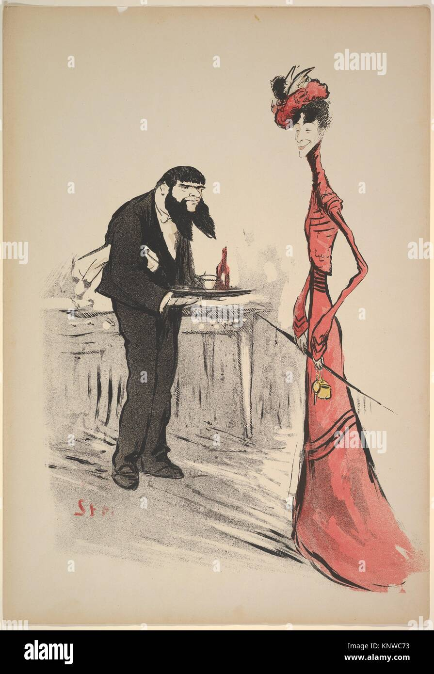 A Woman in Red and a Waiter with a Forked Beard. Artist: Georges Goursat [Sem] (French, Perigueux 1863-1934 Paris); - Stock Image