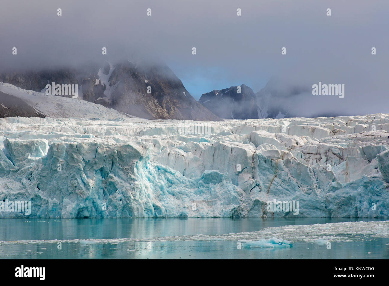 Waggonwaybreen, glacier in Albert I Land at Spitsbergen / Svalbard calving into Magdalenefjorden, Norway - Stock Image