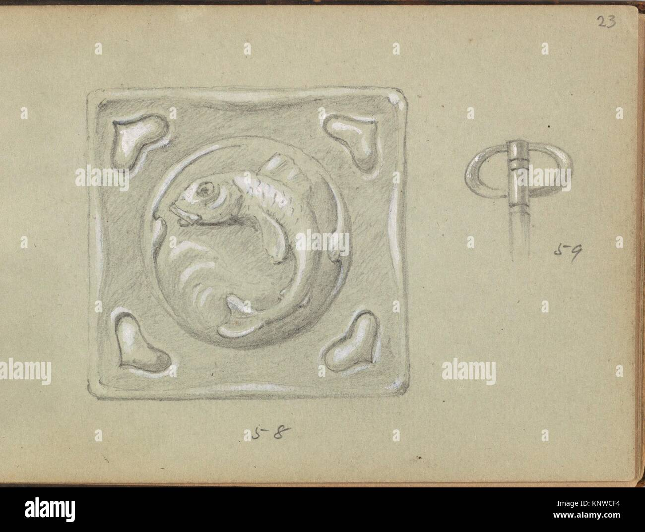 Design for a Decorative (Key?) Plate and a Key Grip. Artist: Edgar Gilstrap Simpson (British, 1867-1945 (presumed)); - Stock Image