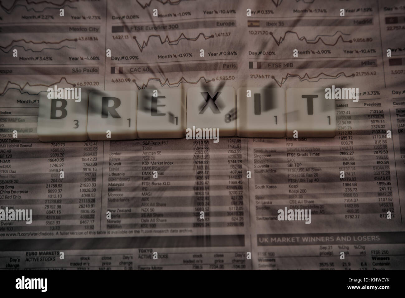 Blurred Brexit image - Stock Image