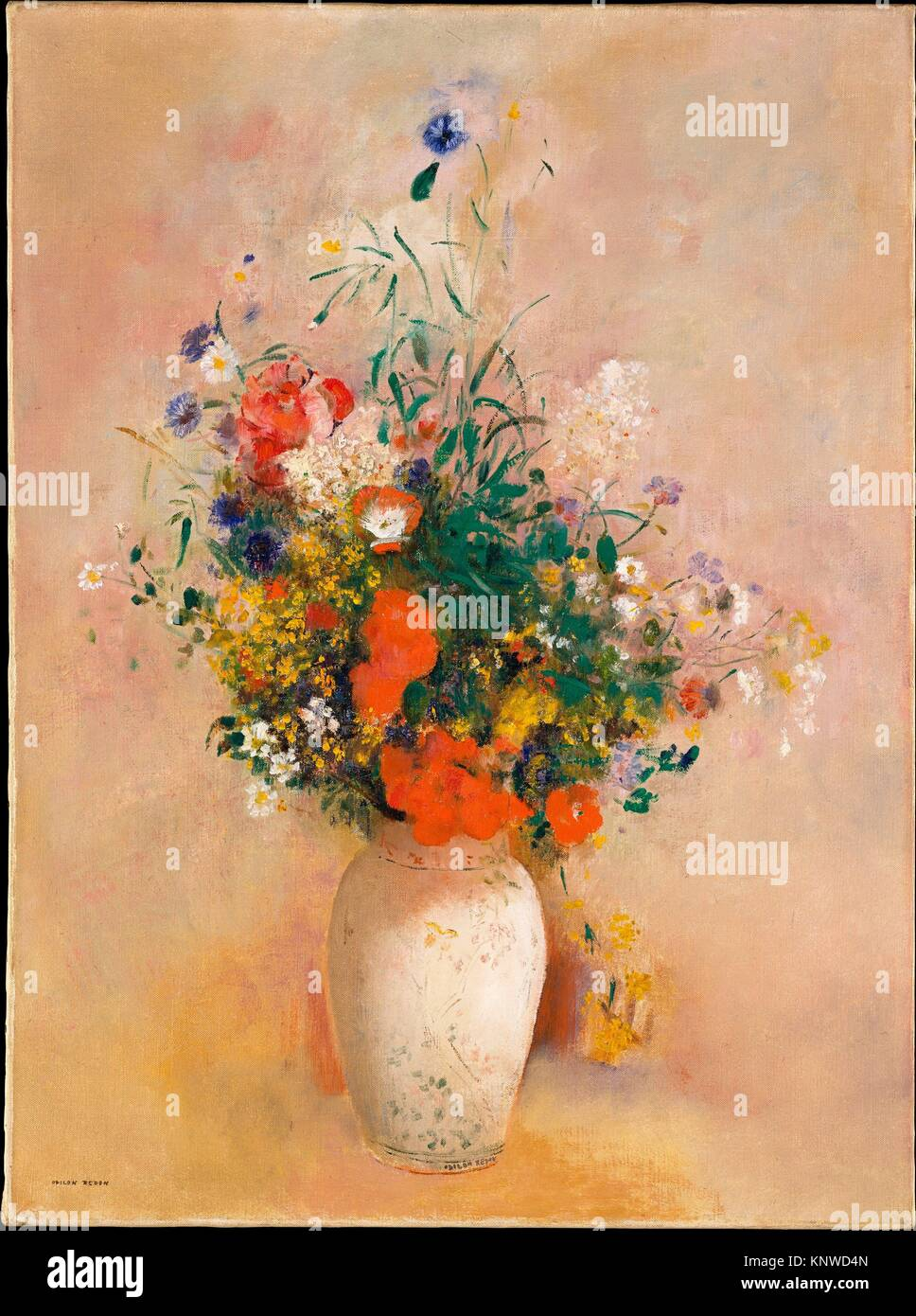 Vase of Flowers (Pink Background). Artist: Odilon Redon (French, Bordeaux 1840-1916 Paris); Date: ca. 1906; Medium: Stock Photo