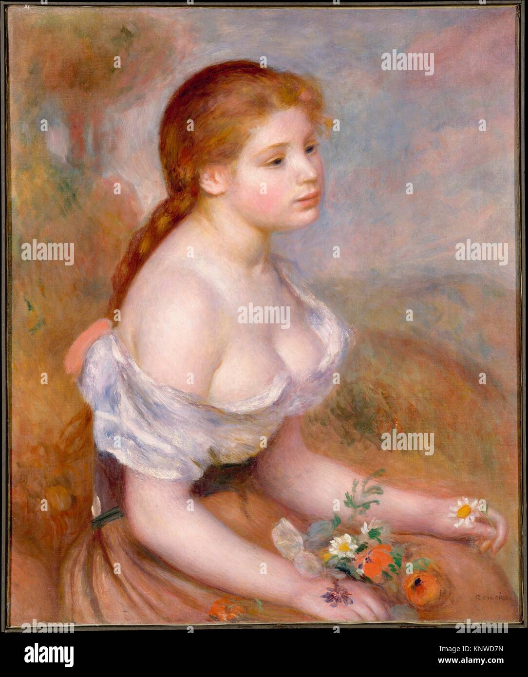 A Young Girl with Daisies. Artist: Auguste Renoir (French, Limoges 1841-1919 Cagnes-sur-Mer); Date: 1889; Medium: - Stock Image