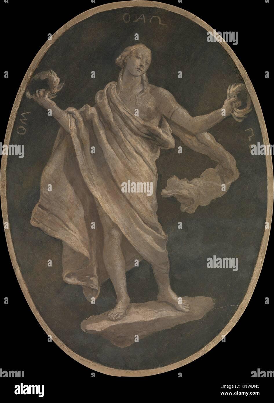 A Virtue, Possibly Patriotism. Artist: Workshop of Giovanni Battista Tiepolo (Italian, Venice 1696-1770 Madrid); - Stock Image