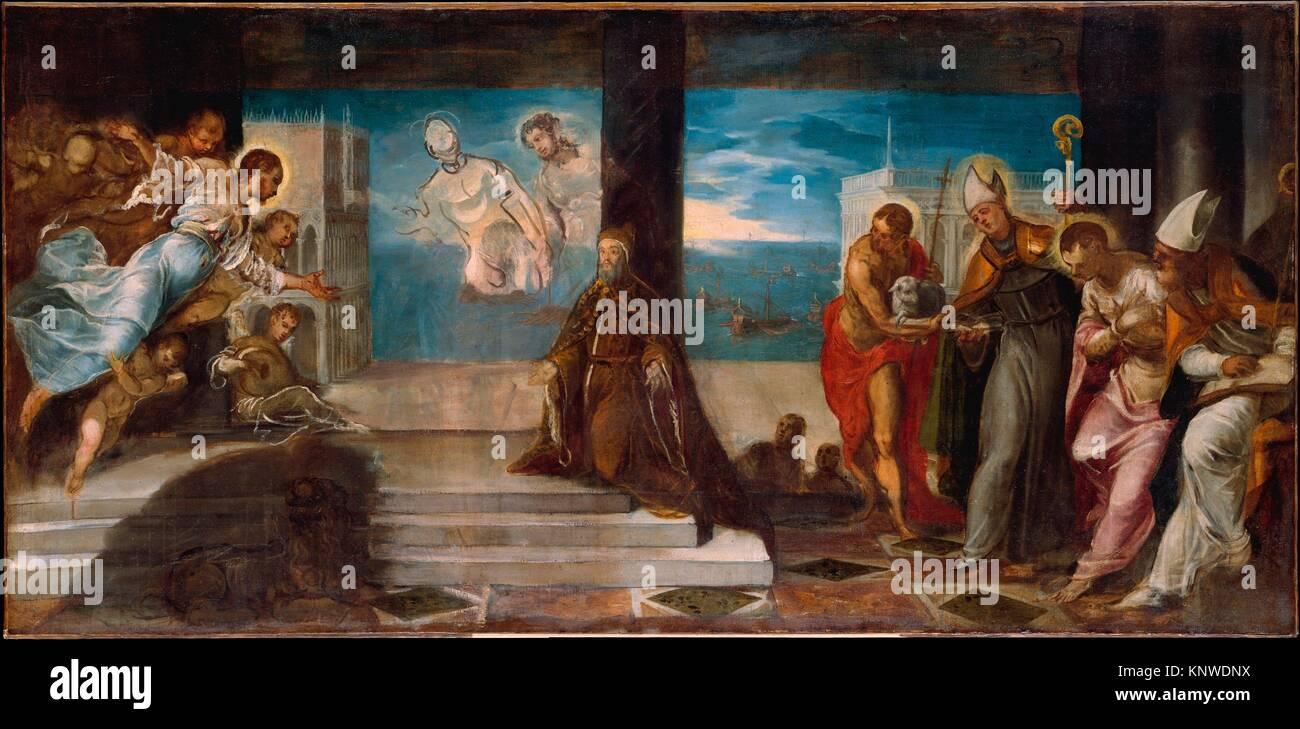 Doge Alvise Mocenigo (1507-1577) Presented to the Redeemer. Artist: Jacopo Tintoretto (Jacopo Robusti) (Italian, Stock Photo