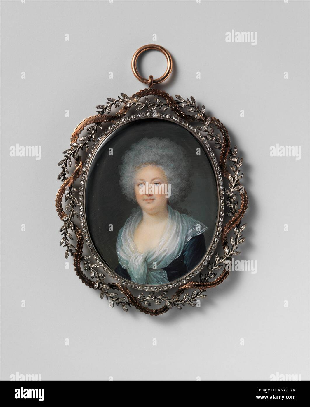 Portrait of a Woman. Artist: Villers (French, active ca. 1781-93); Date: ca. 1790; Medium: Ivory; Dimensions: Oval, - Stock Image