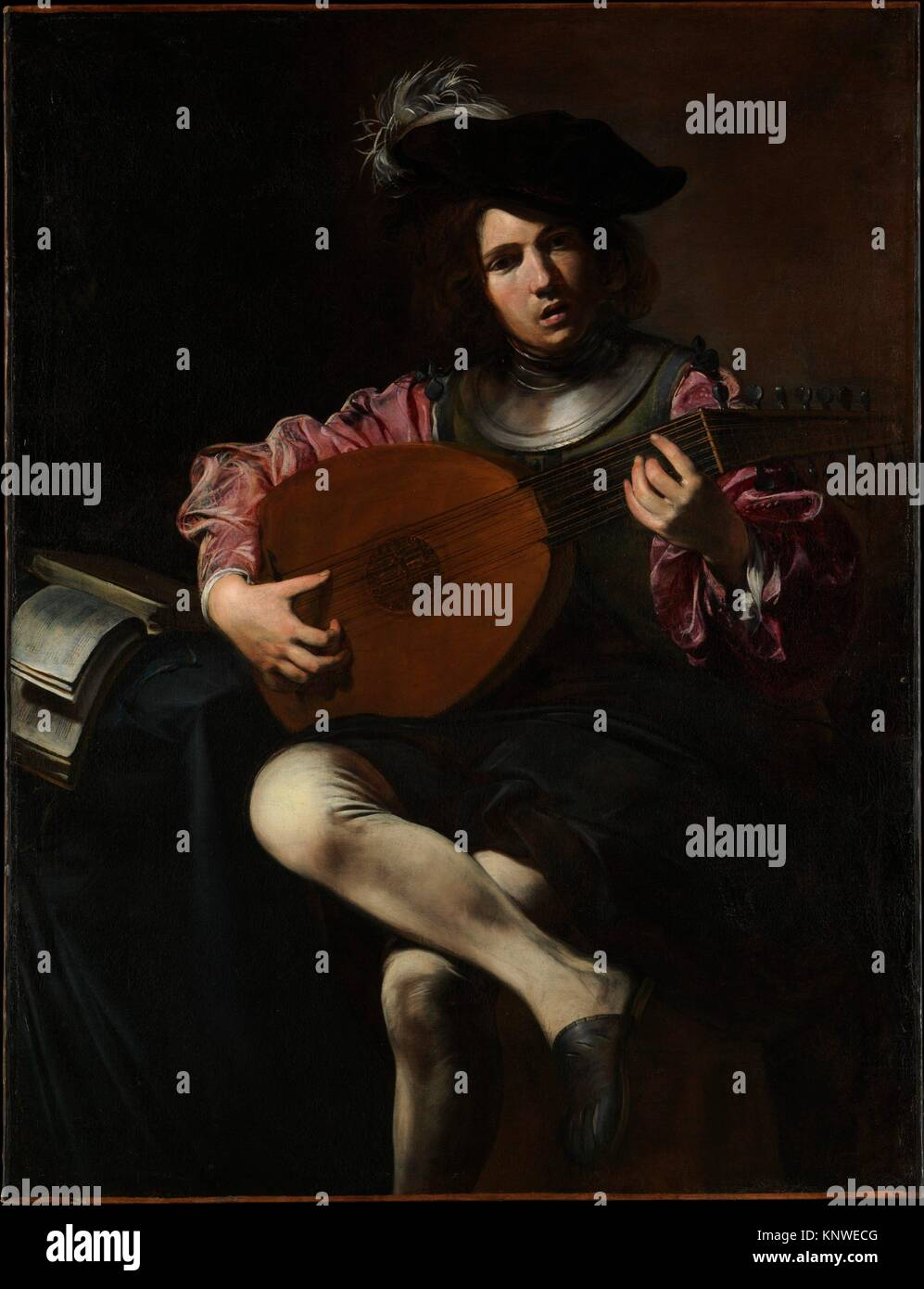 Lute Player. Artist: Valentin de Boulogne (French, Coulommiers-en-Brie 1591-1632 Rome); Date: ca. 1625-26; Medium: - Stock Image